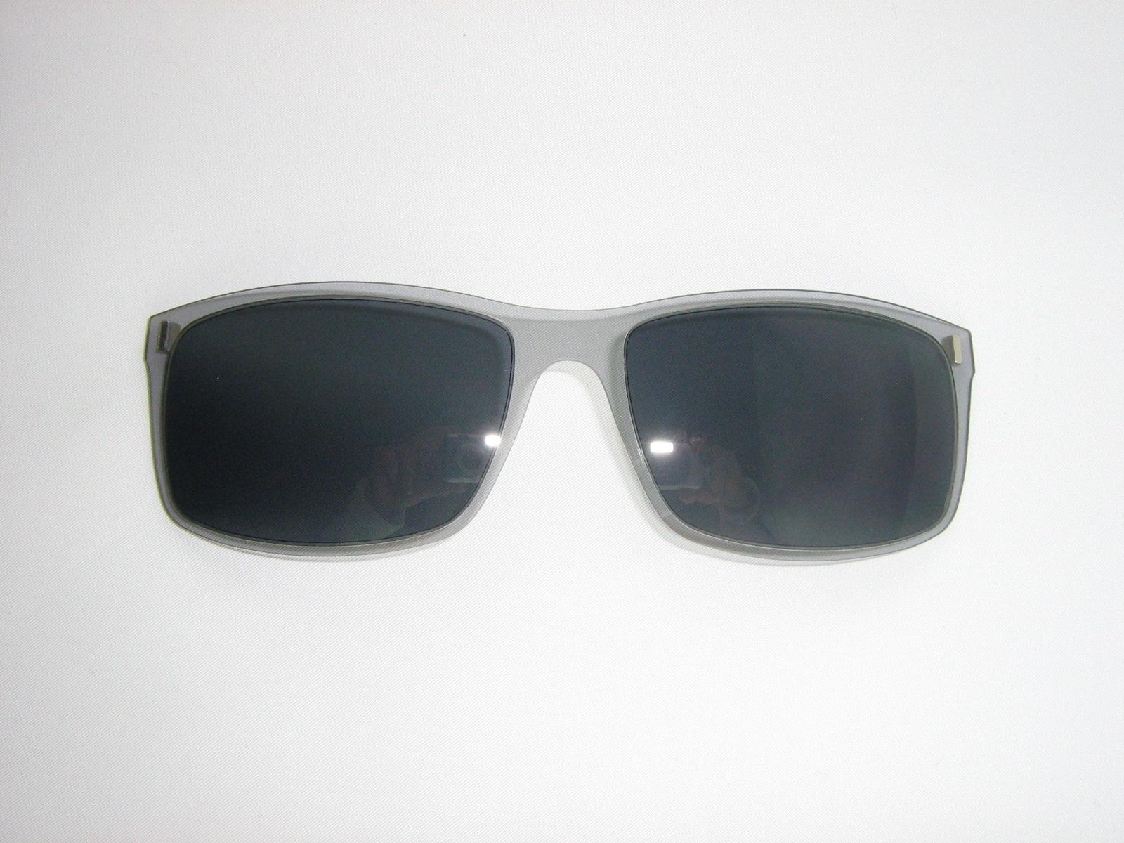 Große Kunststoff Brille mit Magnet Sonnenclip + blau + komplett incl ...
